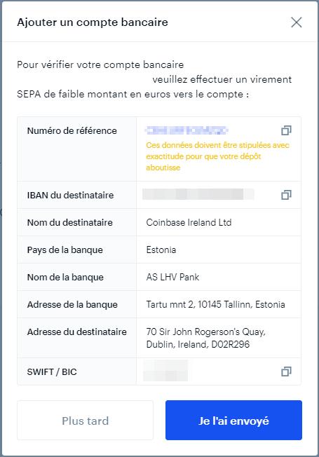 Vérification des informations pour le compte bancaire