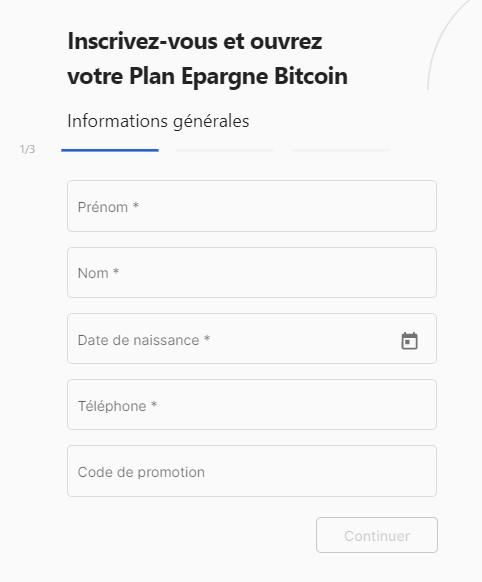 création d'un compte StackinSat le Plan Epargne Bitcoin
