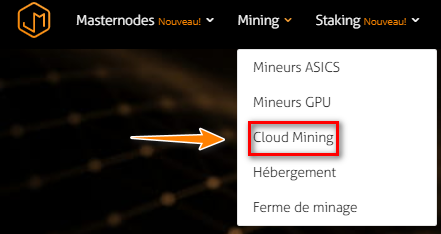 Menu Cloud Mining sur la plateforme Just Mining