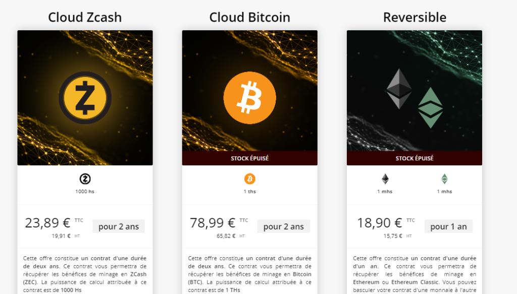 Offres de cloud mining dispoibles sur Just Mining