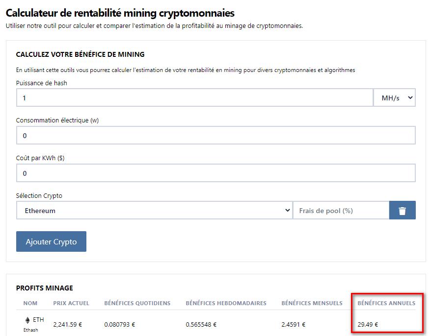 Outil pour calculer la rentabilité du minage des cryptomonnaies