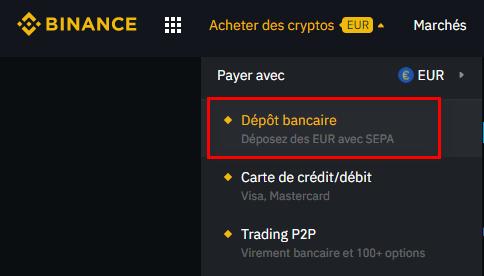 Dépôt bancaire sur la plateforme Binance