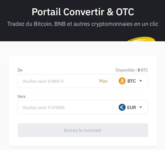 Convertir des cryptos sur Binance
