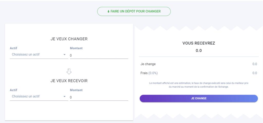 Interface de change Zebitex